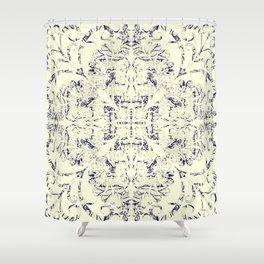 Faded BluPrint Flourish Shower Curtain