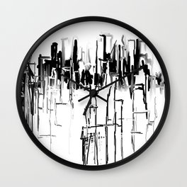 Black and White Cityscape Wall Clock