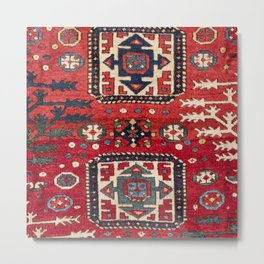 Bright Red Persian Design 19th Century Authentic Colorful Geometric Shapes Vintage Patterns Metal Print