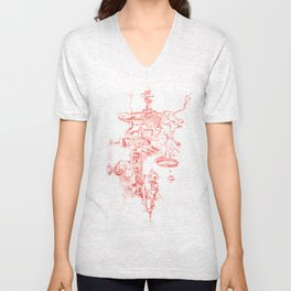 Abstract Lines, Linear Pyramid Space Unisex V-Neck