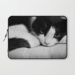 Cat black and white Laptop Sleeve