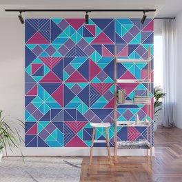 Tangram tiles in blue Wall Mural