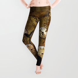 Funny cat with steampunk hat Leggings