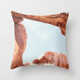 Skylight | Nature Landscape Photography of Double Arch Rock in Arches National Park Utah Throw Pillow