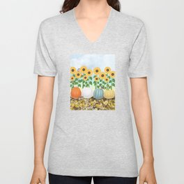 chipmunk, red breasted nuthatches, heirloom pumpkins, & sunflowers Unisex V-Neck