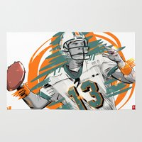 nfl Area & Throw Rugs featuring NFL Legends: Dan Marino - Miami Dolphins by Akyanyme