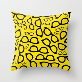Smart Glasses Pattern - Black and Yellow Throw Pillow
