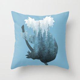 Misty Forest Koala Bear - Blue Throw Pillow