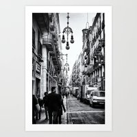 barcelona Art Prints featuring Barcelona  by Monochrome by Juste Pixx