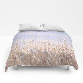 Snowy Reeds in Sunny Day Winter Scene #decor #society6 #buyart Comforters