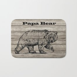 Papa Bear drawing on wood Bath Mat
