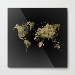 Gold world map Metal Print