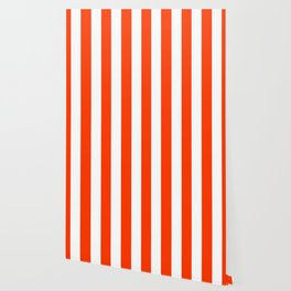 Coquelicot orange - solid color - white vertical lines pattern Wallpaper