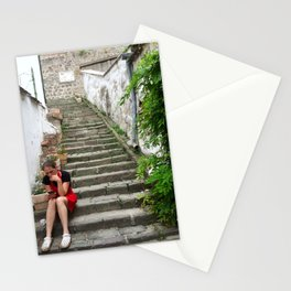 A worker on Steps in Hungary Stationery Cards