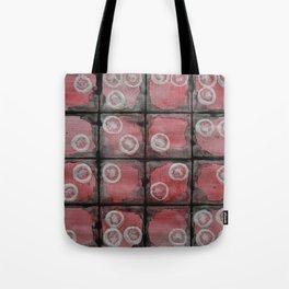 Black Grid Red Stripes Tote Bag