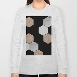 Geometric marble and rose gold on black Long Sleeve T-shirt