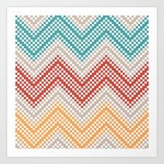 C13 pattern series - pixel chevron Art Print