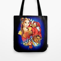 beauty and the beast Tote Bags featuring Beauty And The Beast by neutrone