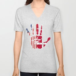USA Denmark Handprint & Flag | Proud Danish American Heritage, Biracial American Roots, Culture, Unisex V-Neck