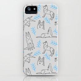 Siberian Husky Pattern (Light Gray) iPhone Case