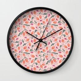 Flower Meadow - Pink Wall Clock