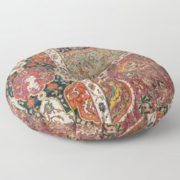 Persian Medallion Rug II // 16th Century Distressed Red Green Blue Flowery Colorful Ornate Pattern Floor Pillow