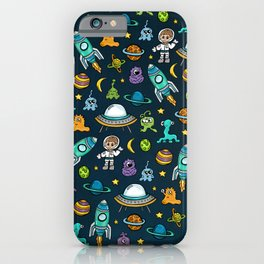 Deep Space, Night Sky, Rocket Ship, UFO, Space Alien, Astronaut, Outer Space iPhone Case