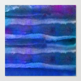 Blue Abstract Watercolor Striped Painting Canvas Print
