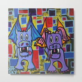 PuppyDragon MondrianCubes Metal Print