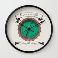hobbit Wall Clocks featuring There lived a hobbit by Cécile Pellerin