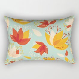 Whimsical Abstract Colorful Lily Flower Pattern Rectangular Pillow