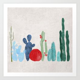 Cactus Garden on light background Art Print