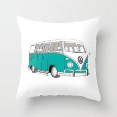 Blue Volkswagen Camper Van (Landscape) (Kombi / VW) Throw Pillow