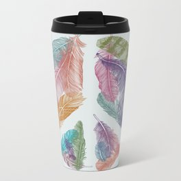 Feathers for Peace (Peace Sign) Metal Travel Mug