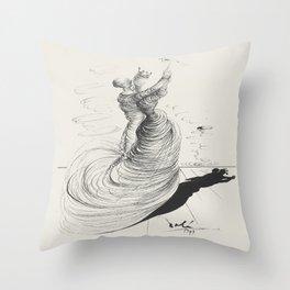 Vintage poster-Salvador Dali-Pencil drawing-Dance. Throw Pillow