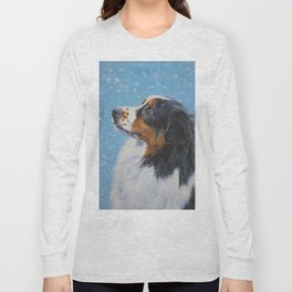 Australian Shepherd dog portrait fine art painting by L.A.Shepard Long Sleeve T-shirt