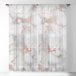 Glam stylish faux rose gold gray abstract blush chic marble Sheer Curtain