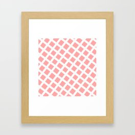 Coral Pink & White Diagonal Grid Pattern - Black & Pink - Mix & Match with Simplicity of Life Framed Art Print