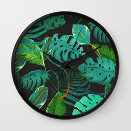 nigth tropical leaves Wall Clock