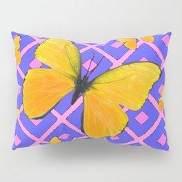Decorative  Yellow Butterflies on Lilac & Pink Pillow Sham