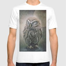 Little Owl MEDIUM White Mens Fitted Tee