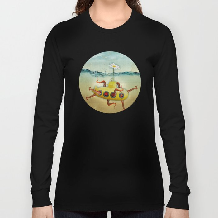 yellow submarine in an octapuses garden Long Sleeve T-shirt