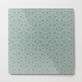Mint and Cream Pastel Star Pattern Metal Print