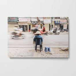 Street Seller in Hanoi, Vietnam Metal Print