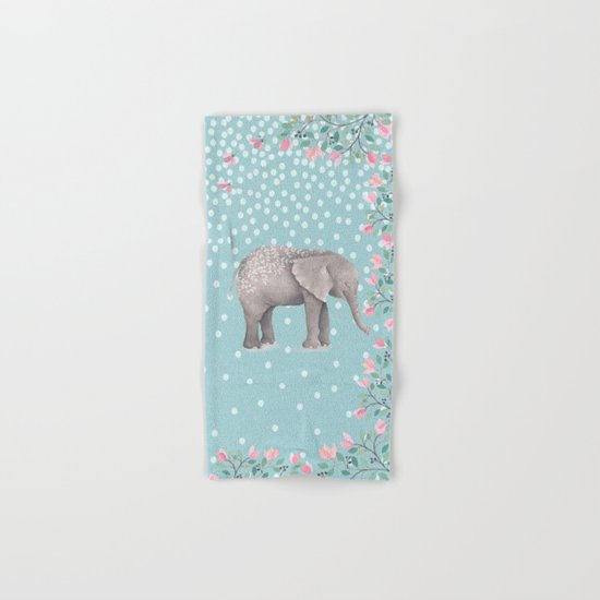 Beautiful Elephant with flowers on dots backround Hand & Bath Towel