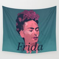 art history Wall Tapestries featuring Frida Kahlo - History of Art by RJ Artworks