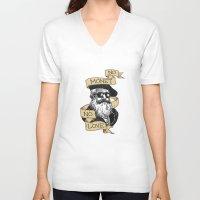 monet V-neck T-shirts featuring No Monet No Love by Aria Gita