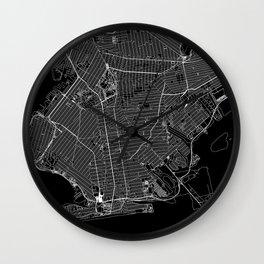 Brooklyn Black Map Wall Clock