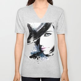 Fashion Beauty, Fashion Painting, Fashion IIlustration, Vogue Portrait, Black and White, #15 Unisex V-Neck