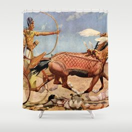 "Classical Masterpiece ""Egyptian King Tut on Chariot"" by Herbert Herget Shower Curtain"